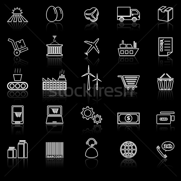 Supply chain line icons with reflect on black Stock photo © punsayaporn