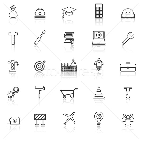 Engineering line icons with reflect on white background Stock photo © punsayaporn