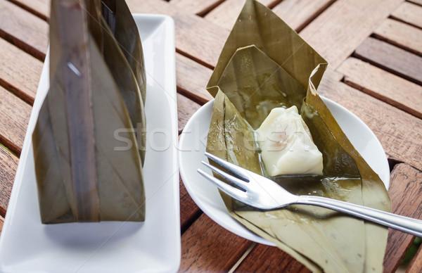 Közelkép kinyitott csomag párolt liszt desszert Stock fotó © punsayaporn
