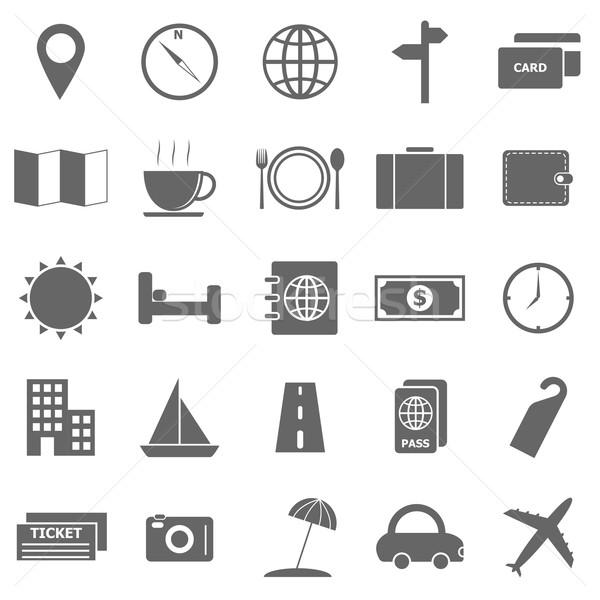 Reizen iconen witte voorraad vector auto Stockfoto © punsayaporn