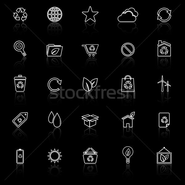 Stock photo: Ecology line icons with reflect on black background