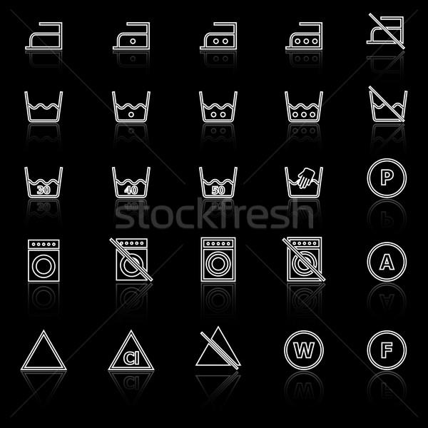 Pranie line ikona czarny czas wektora Zdjęcia stock © punsayaporn