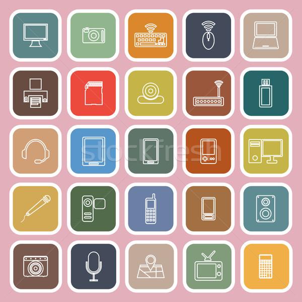 Stockfoto: Gadget · lijn · iconen · roze · voorraad · vector