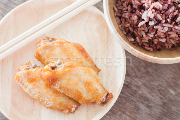 Grilled chicken wings with multi grains berry rice Stock photo © punsayaporn