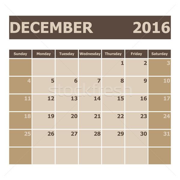 Calendar December 2016, week starts from Sunday Stock photo © punsayaporn