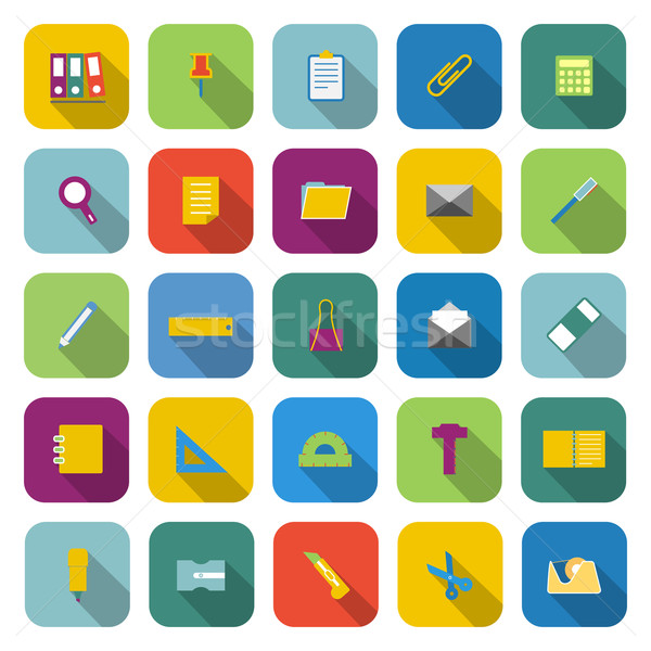 Stationery color icons with long shadow Stock photo © punsayaporn