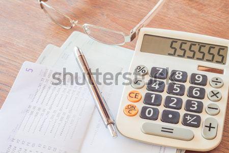 Számológép toll jegyzettömb jegyzetek stock fotó Stock fotó © punsayaporn