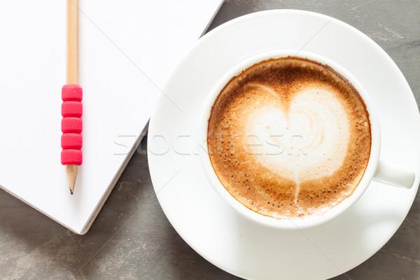 Kávéscsésze jegyzettömb szürke stock fotó kávé Stock fotó © punsayaporn