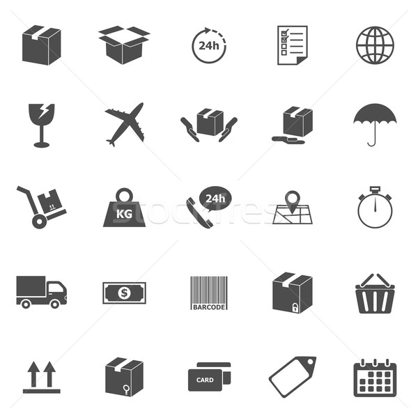 Envío iconos blanco stock vector diseno Foto stock © punsayaporn