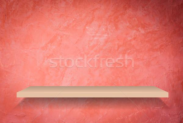 Empty shelf on handmade creative red wall Stock photo © punsayaporn