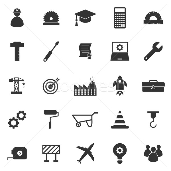 Engineering icons on white background Stock photo © punsayaporn