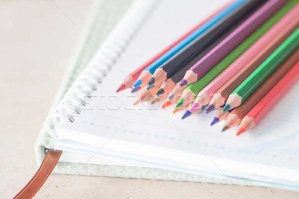 Stockfoto: Kleurrijk · potlood · krijtjes · spiraal · notebook