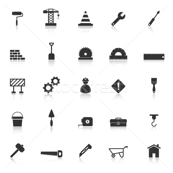 Construction icons with reflect on white background Stock photo © punsayaporn