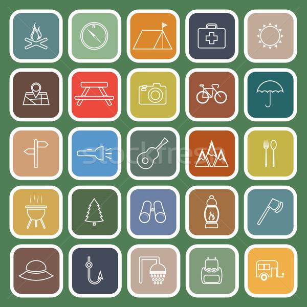 Camping linha ícones verde estoque vetor Foto stock © punsayaporn