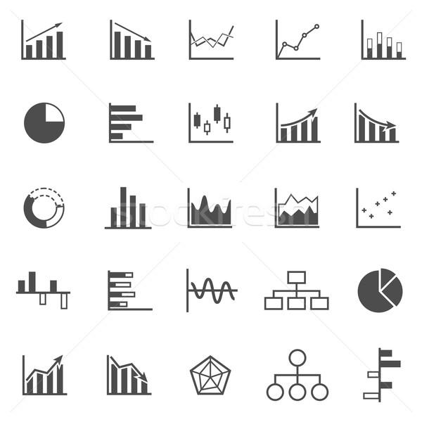 Graph icons on white background Stock photo © punsayaporn