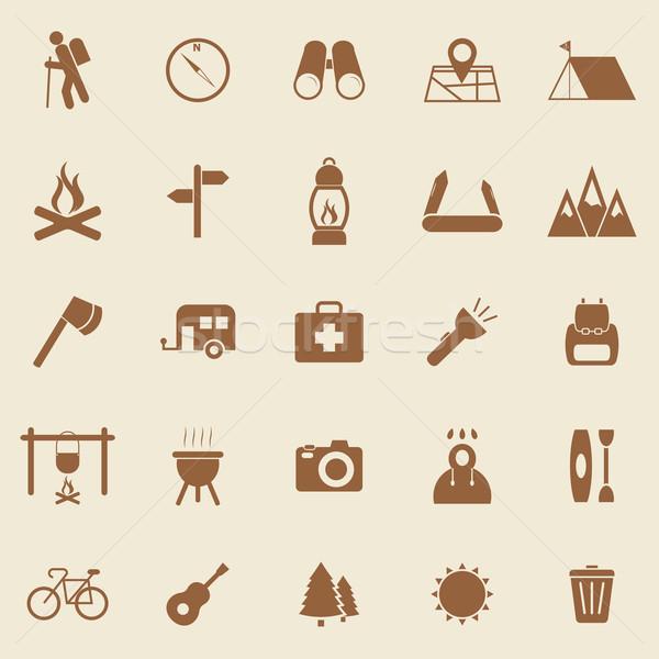Stock fotó: Trekking · szín · ikonok · barna · stock · vektor