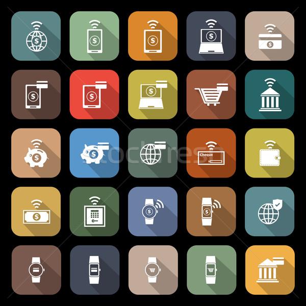 Iconen lang schaduw voorraad vector telefoon Stockfoto © punsayaporn