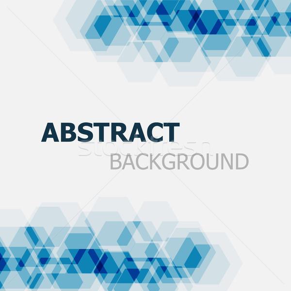 Abstract donkere Blauw zeshoek voorraad vector Stockfoto © punsayaporn