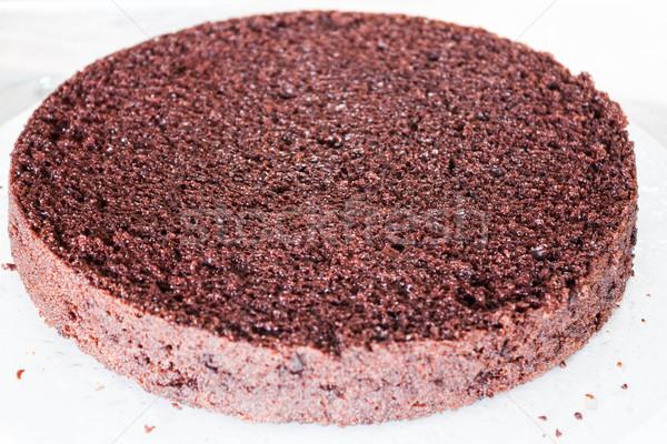 Bottom layer of Chiffon chocolate cake sprayed rum Stock photo © punsayaporn