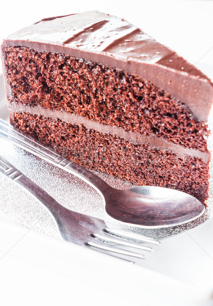 Piece of chocolate cake with spoon and fork Stock photo © punsayaporn