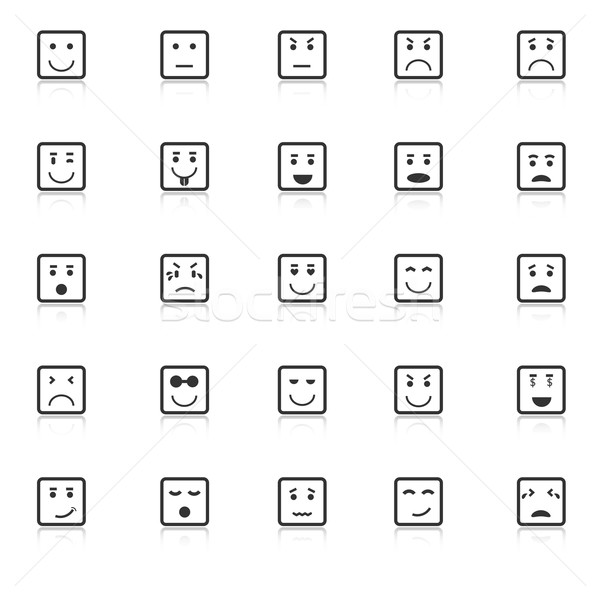 Square face icons with reflect on white background Stock photo © punsayaporn