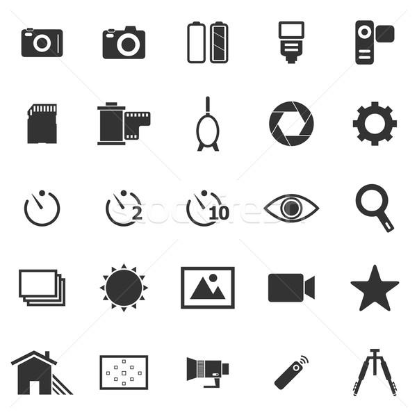 Camera icons on white background Stock photo © punsayaporn