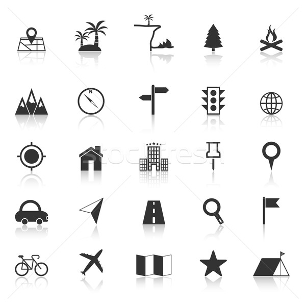 Location icons with reflect on white background Stock photo © punsayaporn