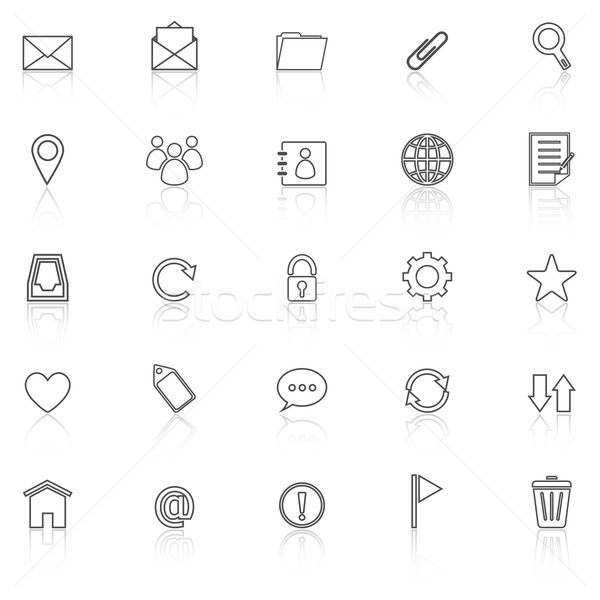 Mail line icons with reflect on white background Stock photo © punsayaporn