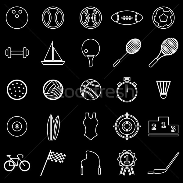Sport  line icons on black background Stock photo © punsayaporn