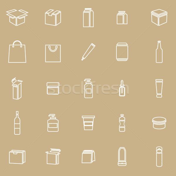 Verpackung line Symbole braun hat Vektor Stock foto © punsayaporn