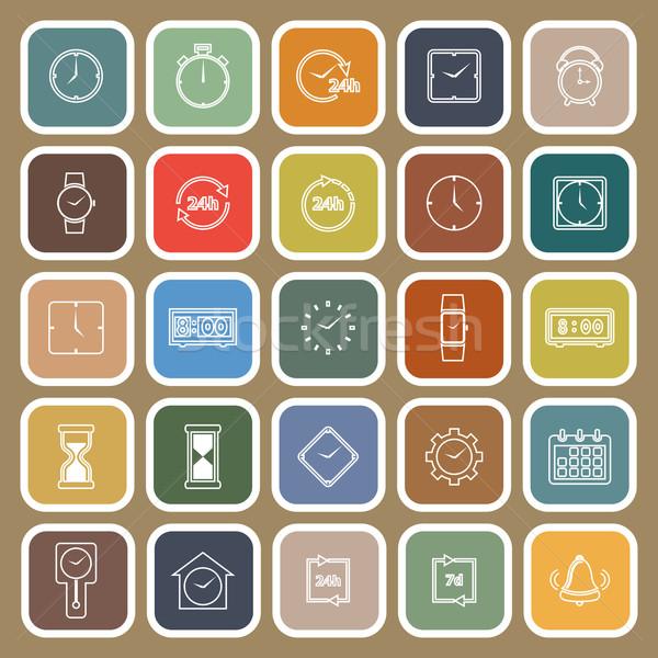 Tijd lijn iconen bruin voorraad vector Stockfoto © punsayaporn
