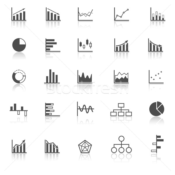 Graph icons with reflect on white background Stock photo © punsayaporn