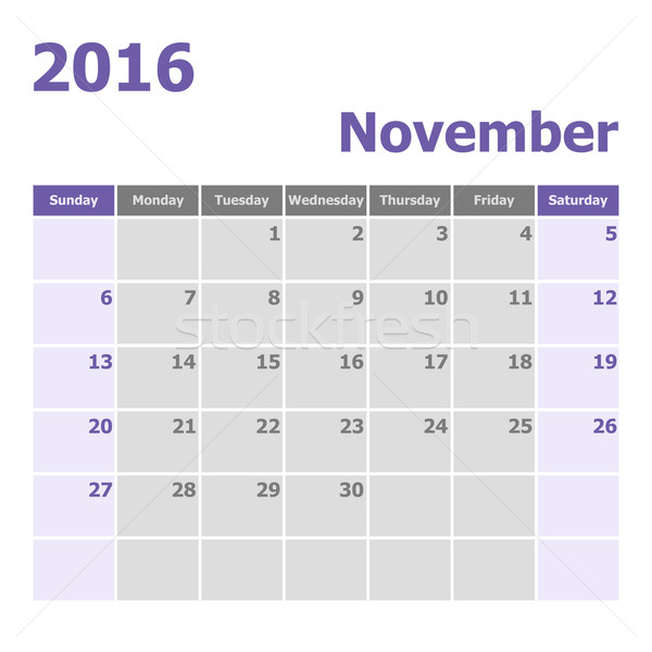 Calendar November 2016 week starts from Sunday Stock photo © punsayaporn