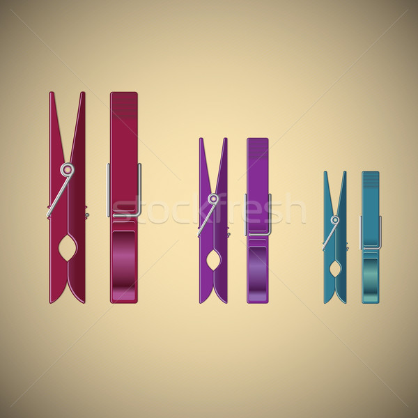 Clothes pin set on gradient background Stock photo © punsayaporn