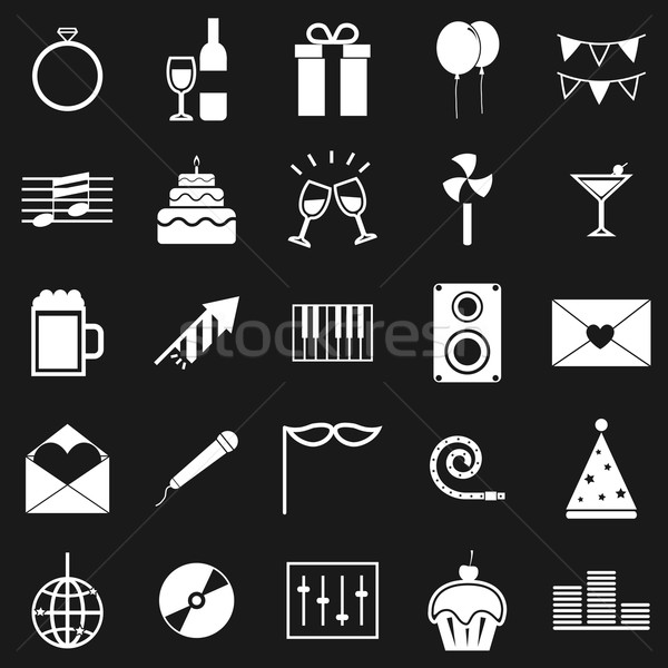 Stock photo: Celebration icons on black background