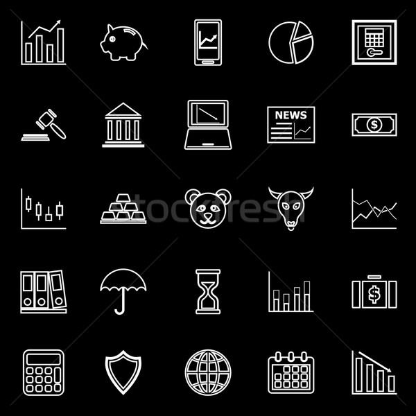 Beurs lijn iconen zwarte voorraad vector Stockfoto © punsayaporn