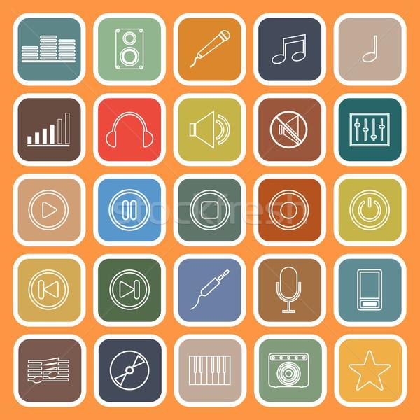 Muziek lijn iconen oranje voorraad vector Stockfoto © punsayaporn