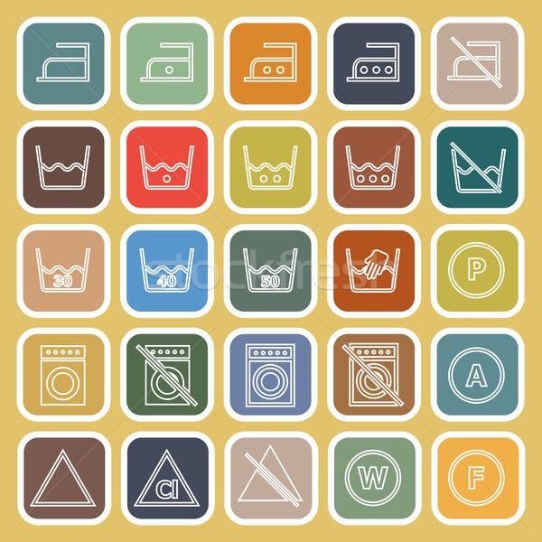 Laundry line flat icons on yellow background Stock photo © punsayaporn