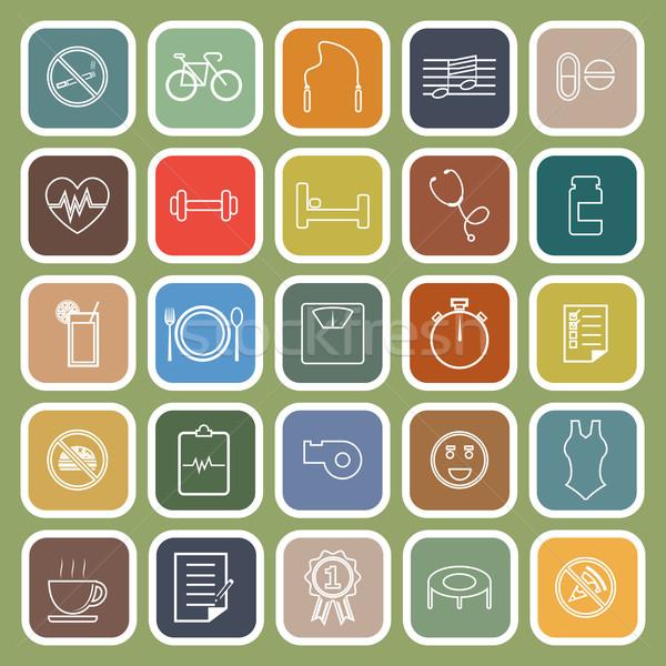 Wellness lijn iconen groene voorraad vector Stockfoto © punsayaporn