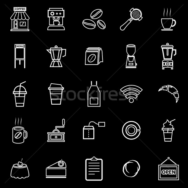 Kávéház vonal ikonok feketekávé bolt fekete Stock fotó © punsayaporn