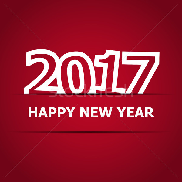 2017 Happy New Year on red background Stock photo © punsayaporn