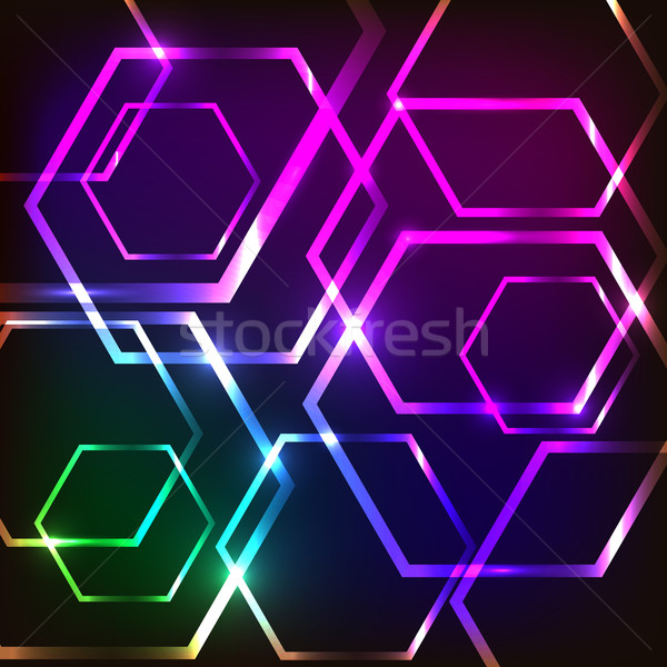 Abstract glowing background with hexagons Stock photo © punsayaporn