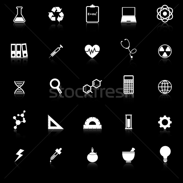 Science icons with reflect on black background Stock photo © punsayaporn