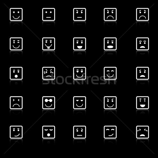 Square face icons with reflect on black background Stock photo © punsayaporn