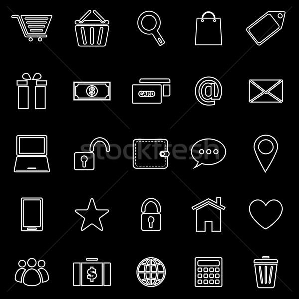Ecommerce line icons on black background Stock photo © punsayaporn