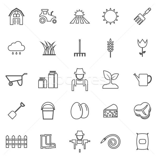 Lijn iconen witte voorraad vector Stockfoto © punsayaporn