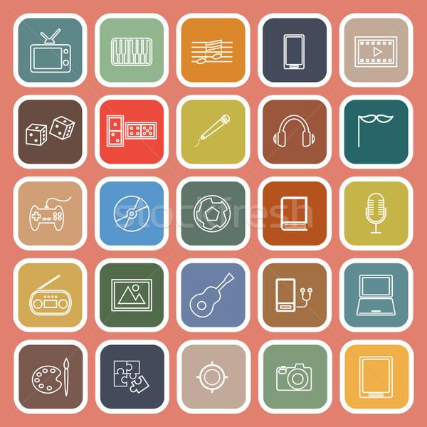 Entertainment lijn iconen oranje voorraad vector Stockfoto © punsayaporn