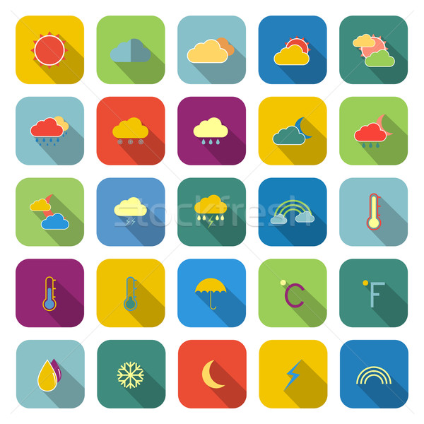 Weather color icons with long shadow Stock photo © punsayaporn