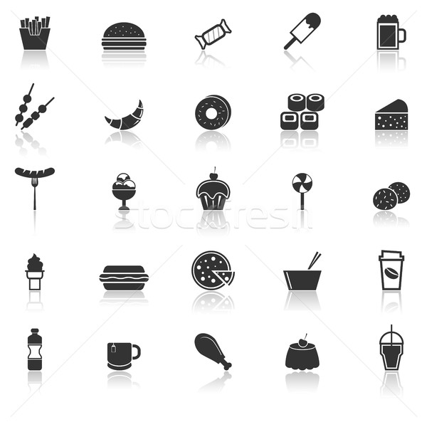 Fast food icons with reflect on white background Stock photo © punsayaporn