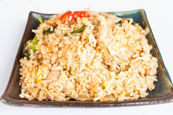 Sült rizs mély disznóhús fokhagyma zöldség Stock fotó © punsayaporn